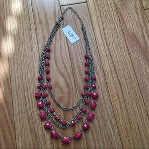 New! LOFT - Multi strand necklace with pink gems